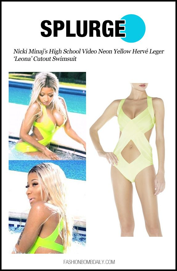 Splurge: Nicki Minaj's High School Video Neon Yellow Hervé Leger 'Leona' Cutout Swimsuit