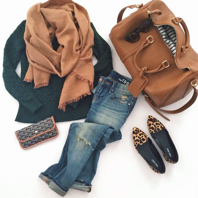 <packing> comfy travel outfit: camel scarf, faux leather weekender bag, boyfriend jeans, leopard flats. More outfit ideas at www.extrapetite.com