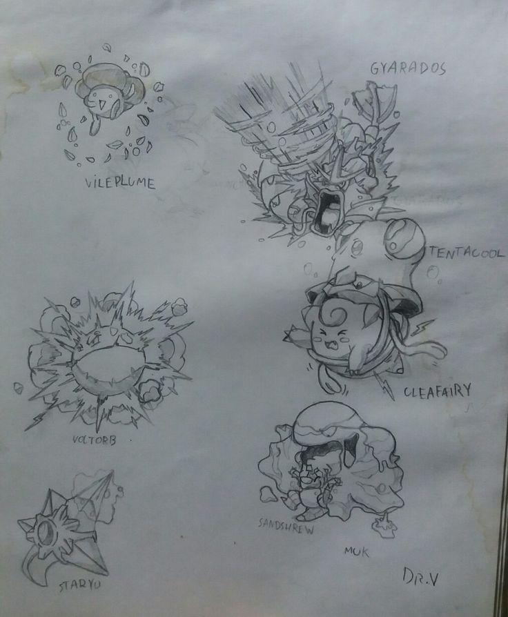 Dibujo antiguo: Vileplume, Gyarados, Voltorb, Clefairy, Tentacool, Staryu, Sandshrew y Muk.