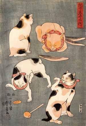 Art by Utagawa Kuniyoshi. #Japanese #cats #art #cute