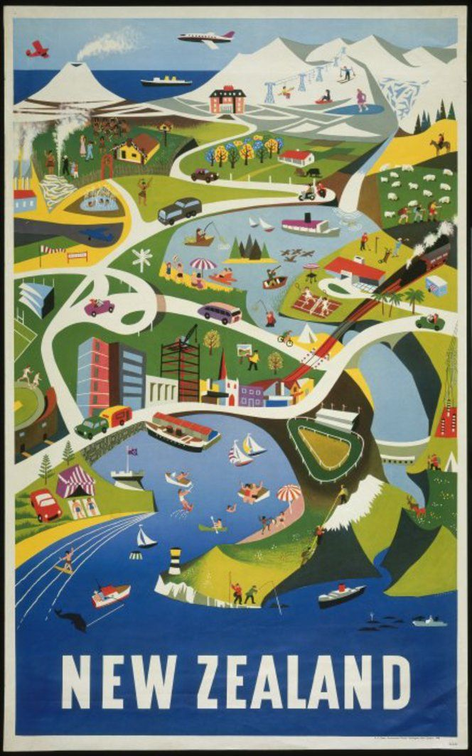 New Zealand vintage travel poster 1960s