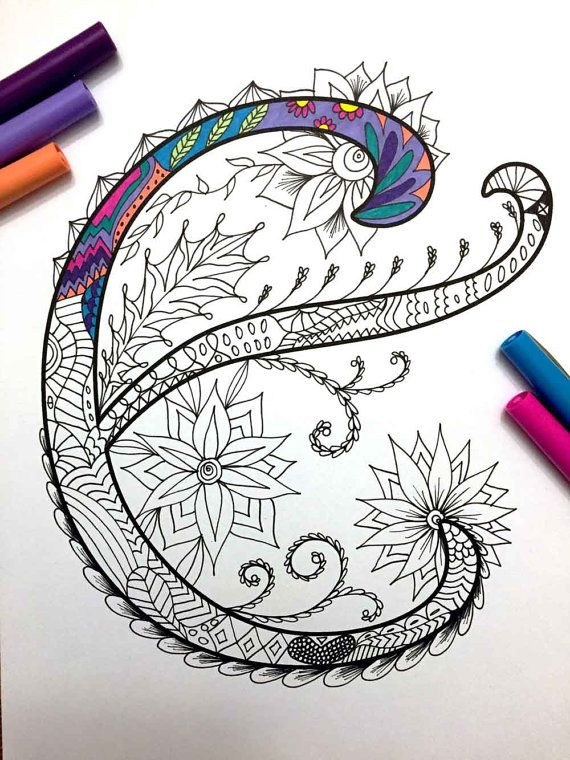 Letter E Zentangle Inspired by the font Harrington by DJPenscript