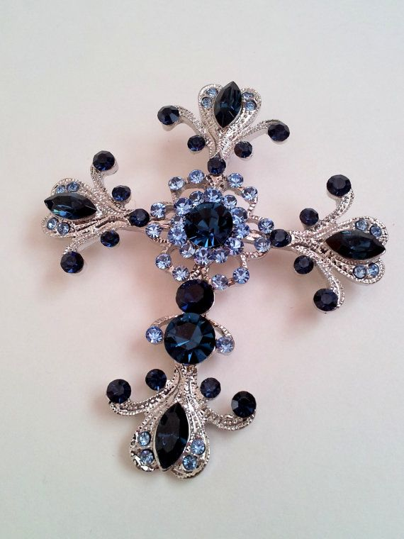 Crystal Cross Pendant Necklace - Dark Blue Swarovski Crystal - Womens Silver Victorian Cross - Large Cross