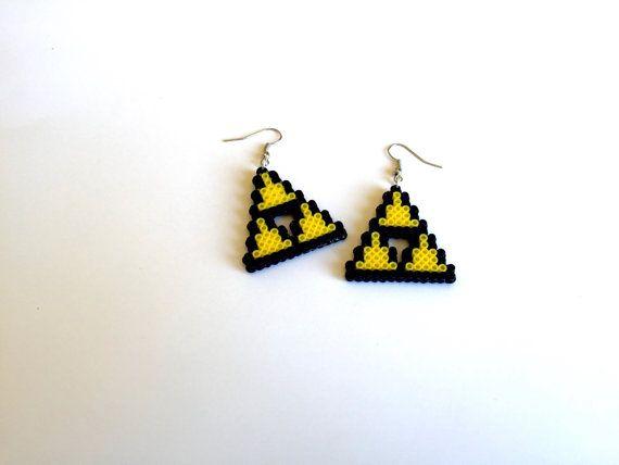 Boucles d'oreilles Mini Triforce Perler Bead - Perler Mini perle, perle de Perler, Pixel bijoux, 8-bit, Zelda Triforce