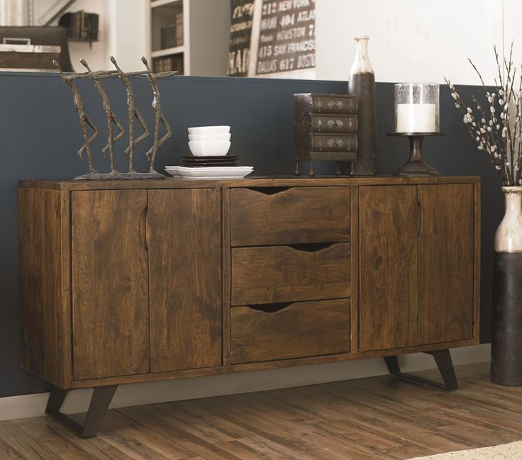 Loft buffet combines inches thick Acacia with sleek iron support to create a contemporary clas
