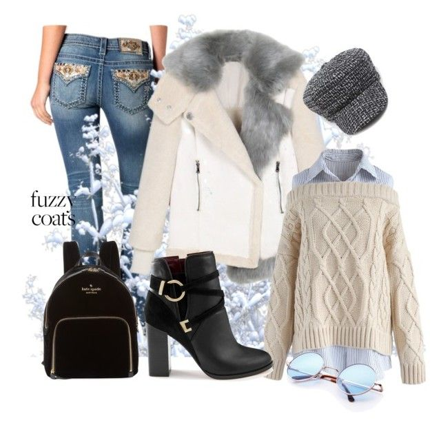 """Keep it Cozy: Fuzzy Coats"" by victoria-ronson ❤ liked on Polyvore featuring Miss Me, Chicwish, Miss Selfridge and Kate Spade"