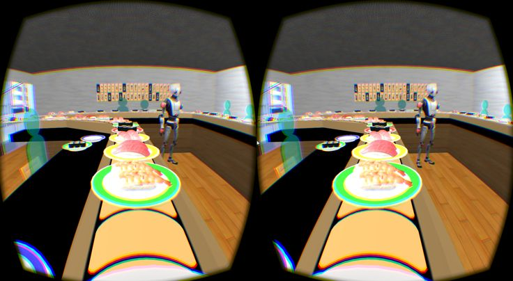 'Ultra Sushi-Go-Round', A Virtual Reality Simulation of Riding a Dish on an Exaggerated Sushi Conveyor Belt