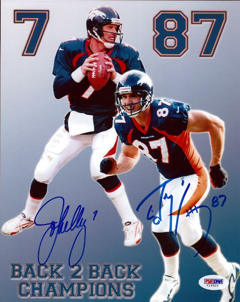 This is an 8x10 photo that has been hand signed by John Elway & Ed McCaffrey. It comes with the tamper-proof PSA/DNA sticker and matching certificate for authentication.
