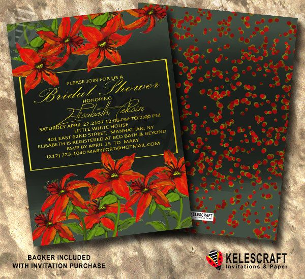 Red Flowers  Bridal Shower Invitation Watercolor Bridal Shower Black Gold Text Bridal Shower Invitation Wedding Paper DiY Printable by KelesCraft on Etsy