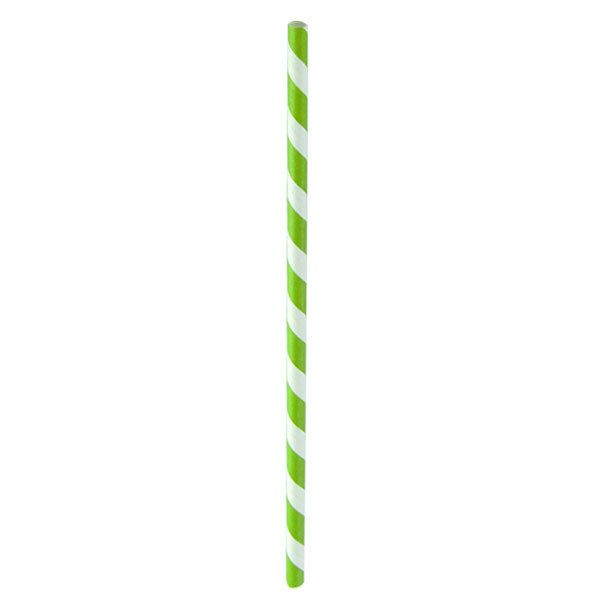 Light Green Paper Straws Coated with Beeswax 8 in. - 25 Pcs Pack