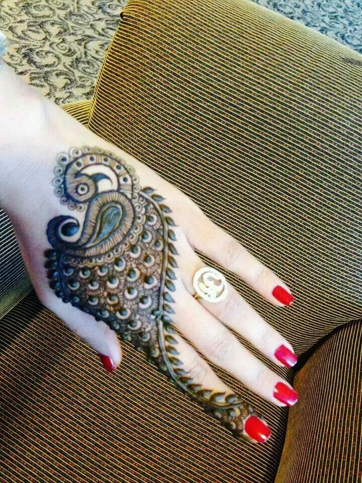 Peacock mehendi or henna designs
