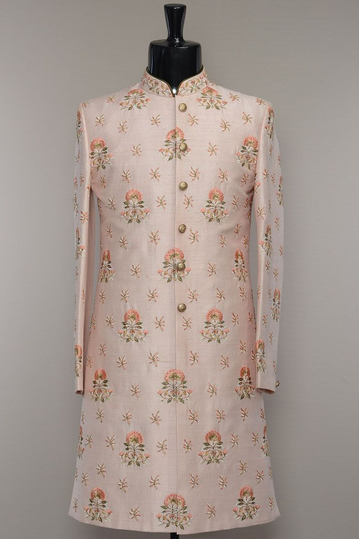 Dusty Pink Raw Silk Resham Embroidered Wedding Sherwani-SH447