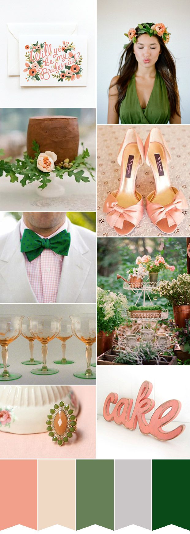 Peach and green wedding ideas - the perfect green and peach wedding color palette | www.onefabday.com #katelyn