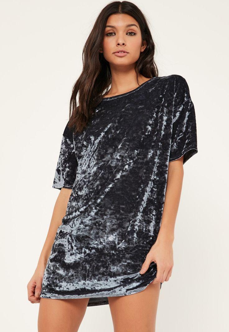 Missguided - Grey Velvet T-Shirt Dress