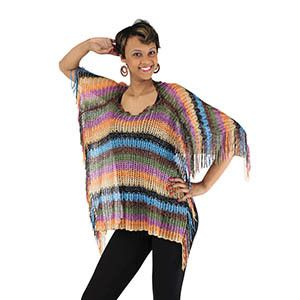 Amp up your style with this chic multi-colored poncho. Silky and stunning, made of 100% polyester. Hand wash in cold water for best results. Line dry flat. One