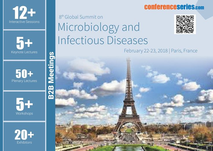 8th Global Summit on #Microbiology & #Infectious_Diseases February 22-23, 2018 Paris, France
