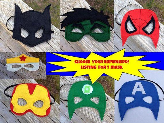 Superhero Mask You Choose Mask Batman Spider Man Iron Man Green Lantern Captain America Wonder Woman Or The Hulk Super Hero Mask