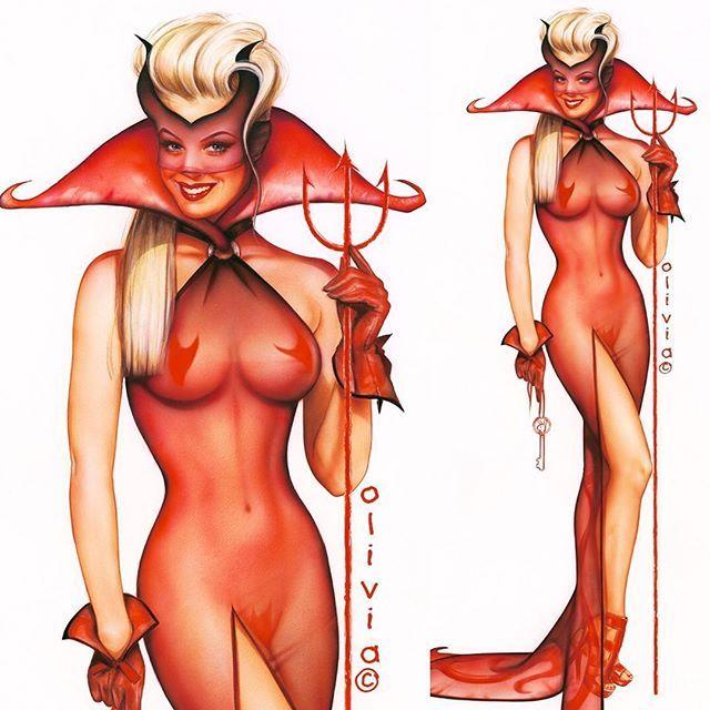 "Original Olivia Playboy art,""Heaven's Gate""- auctions.OliviaDeBerardinis.com #playboy #devil #trident #smile #heatherkozar"