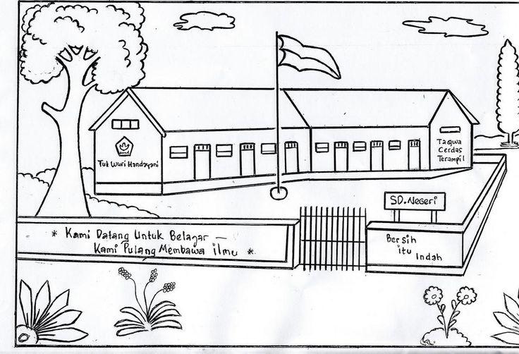 Mewarnai Gambar Sekolah  SD  Tempat untuk Dikunjungi