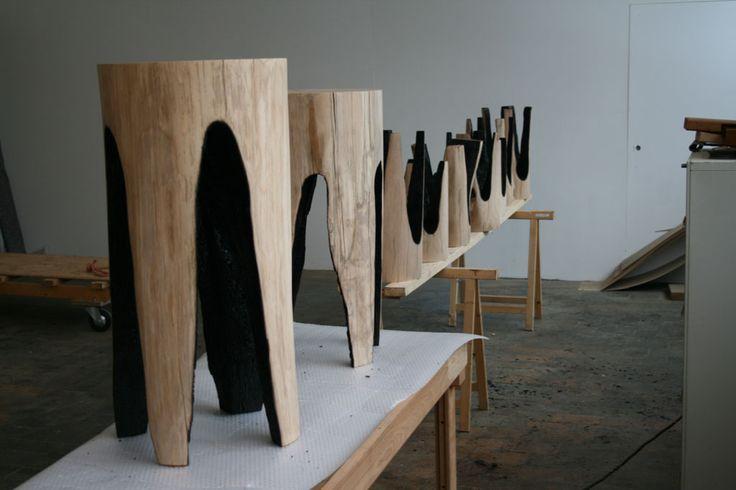 Tumblr+. Ausgebrannt: Charred Log Stools by Kaspar Hamacher