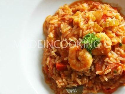 Jambalaya aux crevettes et au chorizo