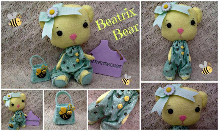 Handmade Felt Bear - Beatrix Hand Sewn TeddyBear with Little Bee Bag - Ready to Buy by HarveyshouseCrafts on Etsy