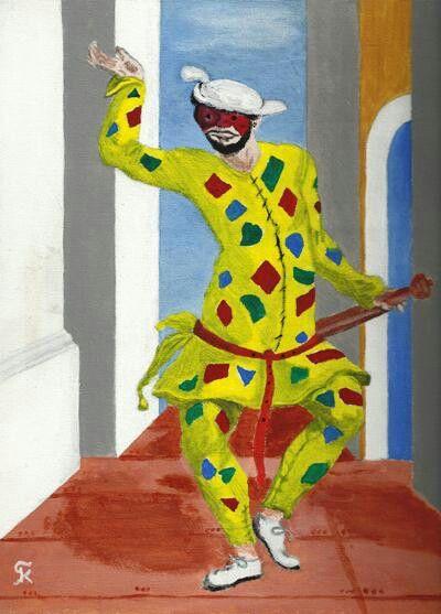 Kostas Giannopoulos (1975-), Mitelli's Harlequin, acrylic on panel canvas