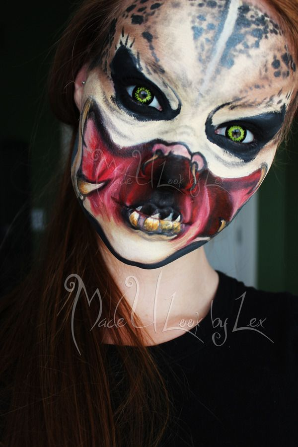 Predator special fx makeup idea / Pairs great with some black & gold colored wolf contact lenses => http://www.pinterest.com/pin/350717889705767911/