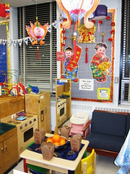 Great idea for a dramatic play center with food, clothing and pictures. Themes create and provide a multicultural classroom environment.