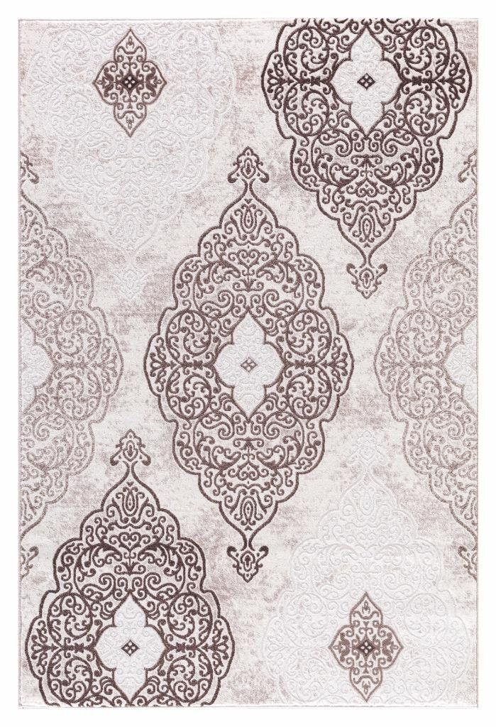 Beige Brown Damask Affordable Transitional Discount Area Rugs 5x8 8x11    Bargain Area Rugs