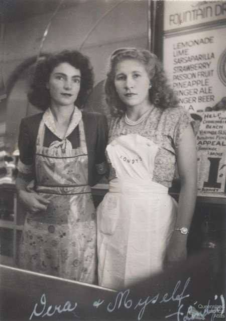 Maureen and Vera from Toowoomba's Londy's Cafe pose for a photo (circa 1962).