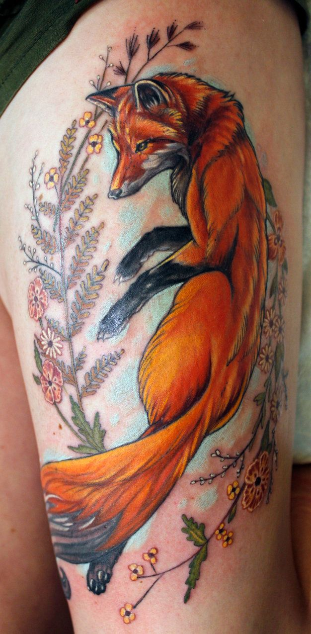 If you decide to get a tattoo look at the image of a fox this animal - Fox Tattoo Done By Sean Ambrose At Arrows And Embers Custom Tattoo Concord Nh Usa Fox And Ferns