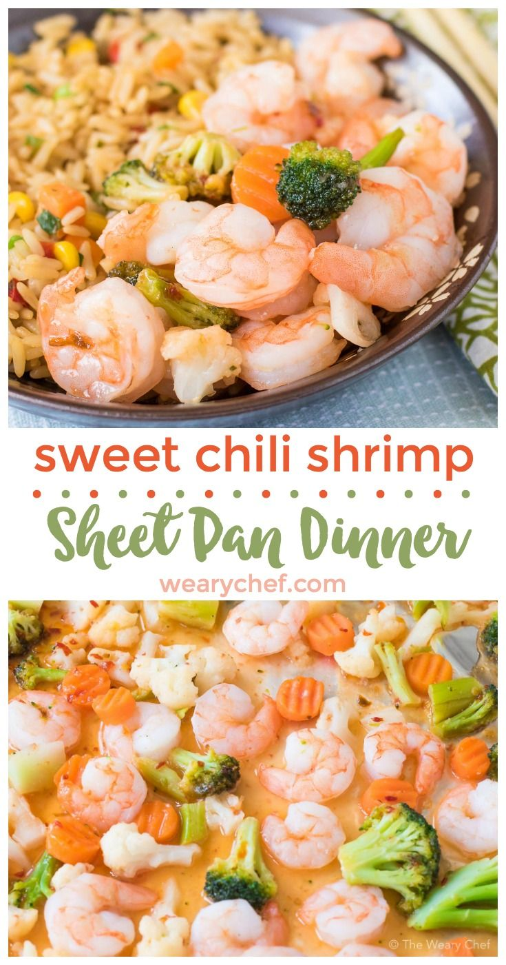 This 3-Ingredient Sweet Chili Shrimp Sheet Pan Supper could not be any easier! Just stir, cover, and bake. No thawing required!!  (sponsored by @smartandfinal)