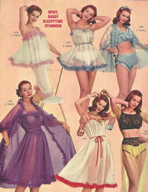 """1950s Lingerie ad, """"Spicy, Saucy, Sleepytime Stunners""""                                                                                                                                                                                 More"""