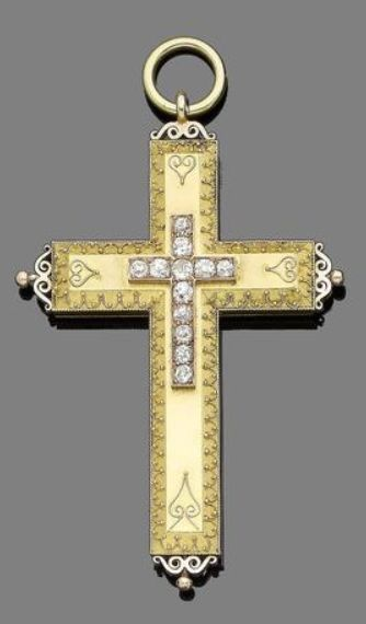 A 19th century gold and diamond cross pendant Set to the centre with an applied old brilliant-cut diamond cross motif, decorated with ropetwist and beaded filigree detailing, diamonds approx. 1.45cts total, Russian assay mark, length 10.0cm