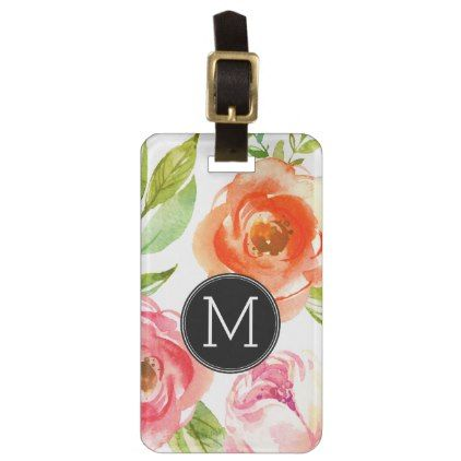 Girly Painted Watercolor Flowers Monogram Luggage Tag - #chic gifts diy elegant gift ideas personalize
