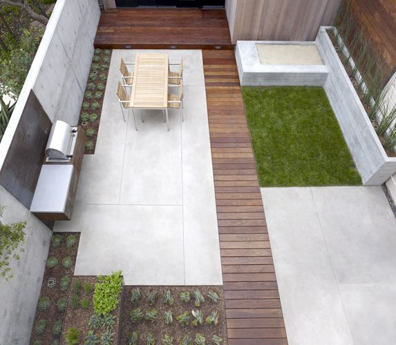Small, modern back garden with a rectangular theme.