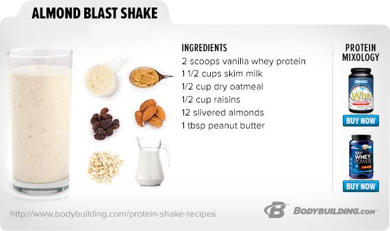 Almond Blast Shake replace the peanut butter with almond butter. Ad the milk with 1/2 cup frozen Greek yoghurt ad water