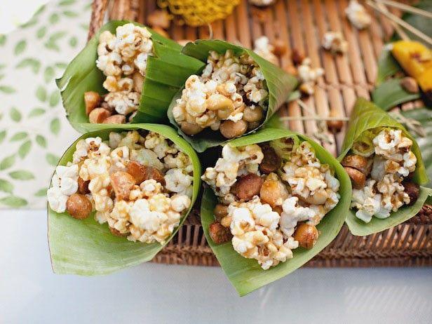 How to Throw a Hawaiian Luau Party - Tropical Caramel Corn (Just add cashews, macadamian nuts and brazil nuts)