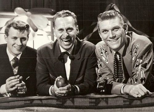 On the set of Country Hoedown:  Tommy Common, left, Gordie Tapp, centre, Tommy Hunter, right.  Great show and great singing talent in the two Tommy's