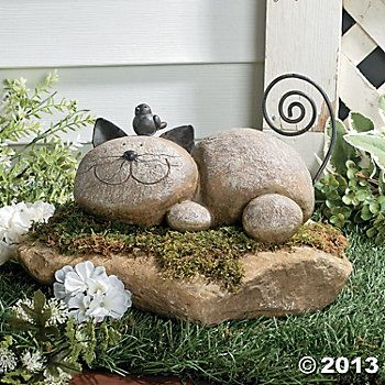 """Resting Cat Stone $14.00 lightweight resin, with wire whiskers and a coiled tail 9""""W"""