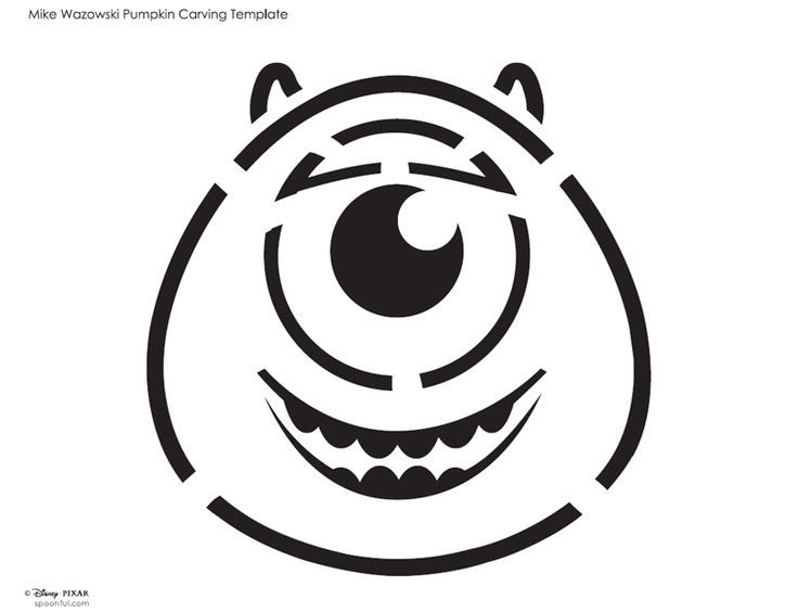Aimless Moments: Mike Wazowski Pumpkin Carving Template #Halloween