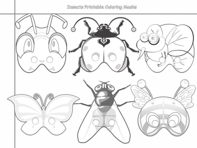 Insects Printable Coloring Masks Insect Masks Ladybug Mask Bee Mask Grasshopper Mask Bumblebee Butterfly Mask Fly Mosquito Mask Ask Coloring Mask Printable Coloring Masks Butterfly Mask