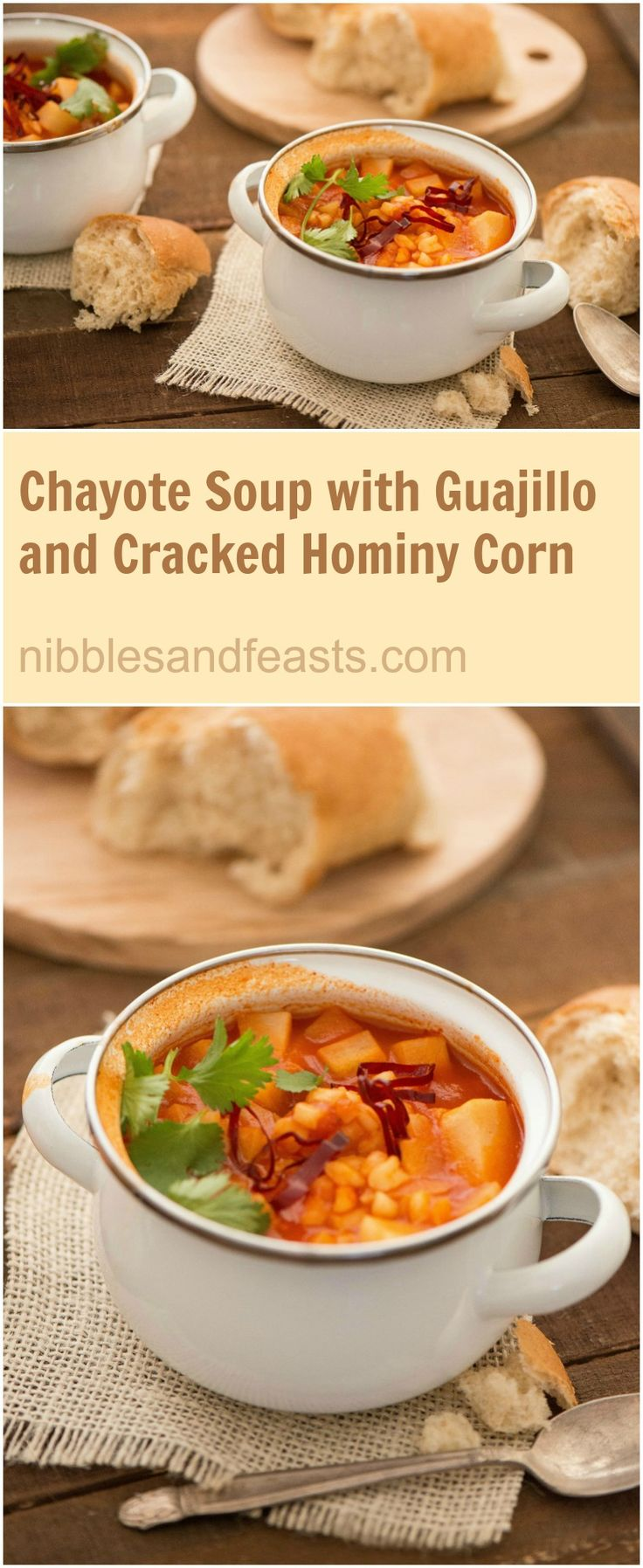 Chayote Soup with Guajillo and Cracked Hominy Corn.  Tender chayote with bits of cracked hominy corn and hints of dry guajillo chile in a brothy tomato base is the perfect way to start off your week.  @huntschef HuntsAtHome Ad