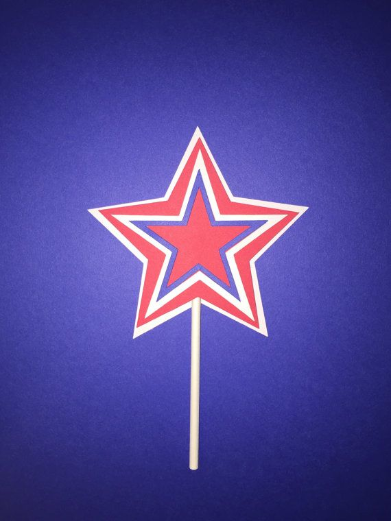 4th of July Star Cupcake Toppers - Set of 12 by Paper Love Print Shop on Etsy