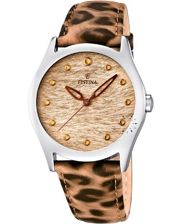 FESTINA Orange Animal Print Leather Strap Τιμή: 69€ http://www.oroloi.gr/product_info.php?products_id=36404