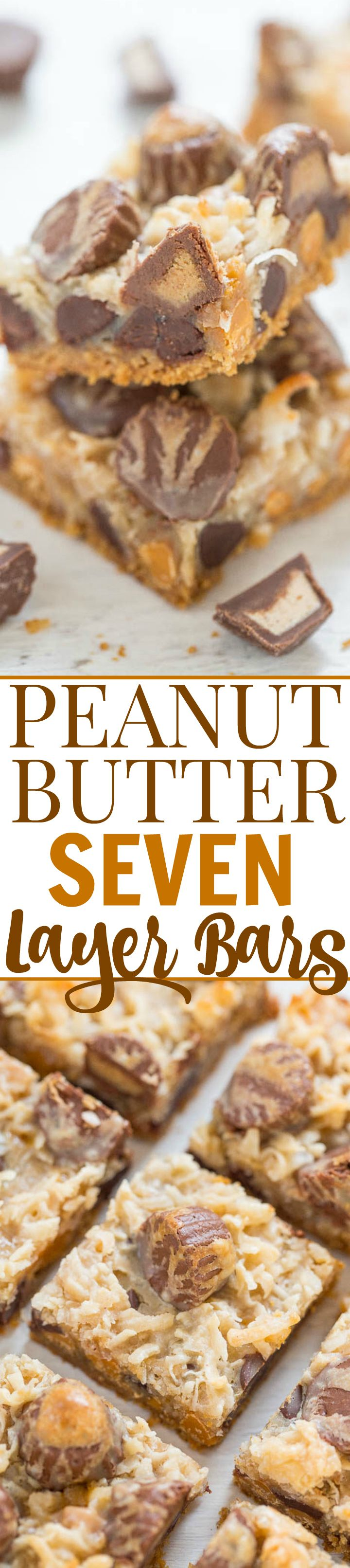 Peanut Butter Seven Layer Bars - There's peanut butter, peanut butter chips AND peanut butter cups in this fun twist on the classic recipe!! EASY no-mixer recipe that peanut butter fans will LOVE!!
