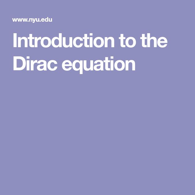 Introduction to the Dirac equation