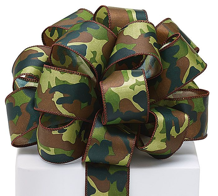 Use this Camo ribbon to wrap a gift for the outdoorsy person in your life! #burtonandburton #camo #ribbon