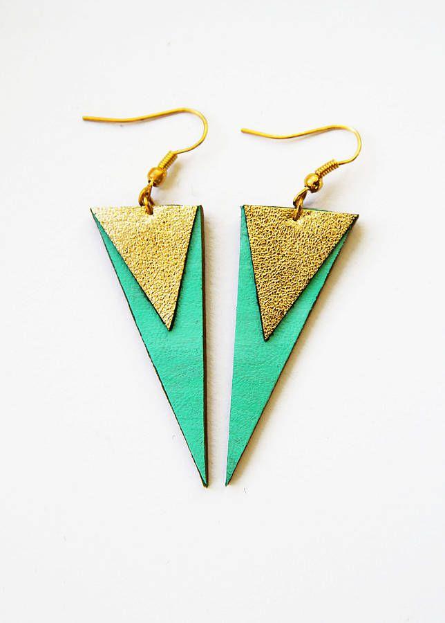 'Rachael' Geometric Leather Shard Earrings